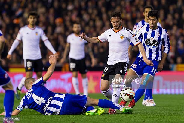 Valencia Spain 04 Alejandro Bergantinos Garcia Alex Bergantinos of Deportivo de la Coruna 11 Pablo Piatti of Valencia CF and 11 Juan Francisco Moreno...