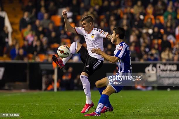 Valencia Spain 23 Nicolas Otamendi of Valencia CF and 11 Juan Francisco Moreno Fuertes Juanfran of Deportivo de la Coruna in La Liga match between...