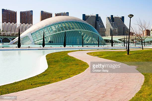 Valencia Spain City of Arts and Science Hemisferic building by architect Santiago Calatrava