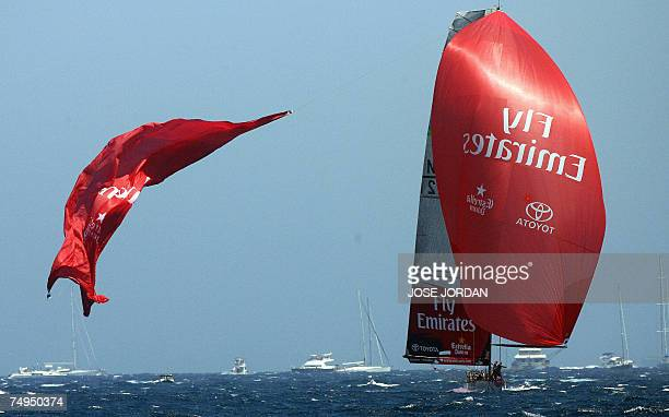 Emirates Team New Zealand let go of a ruptured spinnaker on the fifth day of racing in the 32nd America's Cup in Valencia 29 June 2007 The final...