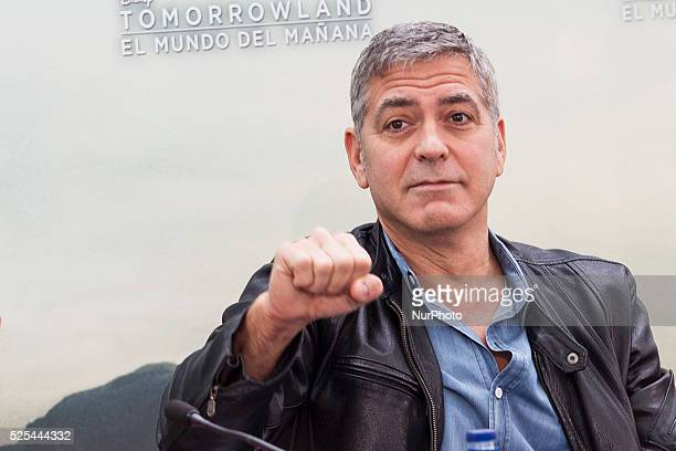 Valencia Spain George Clooney Raffey Cassidy Brad Bird and Britt Robertson have presented at a press conference the Disney last film Tomorrowland at...
