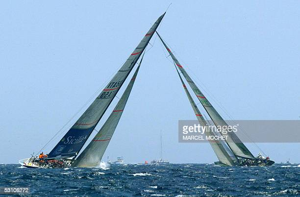 Italian boat 39 Challenge and Spanish boat Desafio Espanol take part in the fleet race of the Louis Vuitton act in Valencia 20 June 2005 The racing...