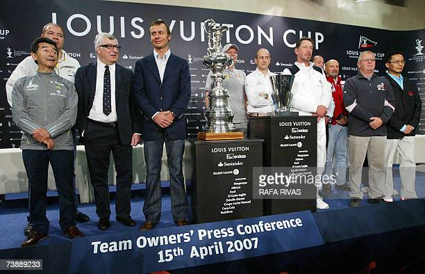 Owners of participant boats in the Louis Vuitton Cup of the 32nd America's Cup Team Shosholoza's Salvatore Sarno United Internet Team Germany's Ralph...