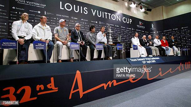 Owners of participant boats in the Louis Vuitton Cup of the 32nd America's Cup Desafio Espanol 2007's Agustin Zabaleta United Internet Team Germany's...