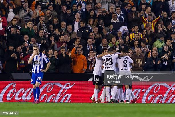 Valencia Spain Paco Alcacer celebrates his goal with your team mates in La Liga match between Valencia CF and Deportivo de la Coruna at Mestalla...