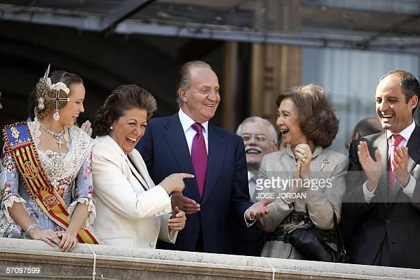 Spanish King Juan Carlos his wife Queen Sofia Valencian President Francisco Camps Valencia City Major Rita Barbera and Major Fallera Luci Gil joke on...