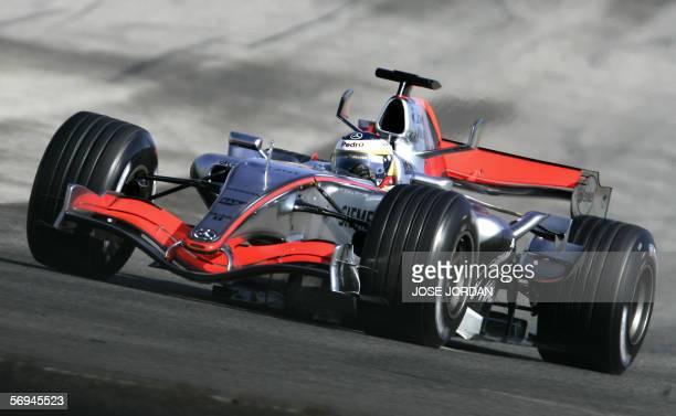 Spanish McLaren Formula One driver Pedro De La Rosa trains at the Ricardo Tormo racetrack in Cheste, near Valencia, 27 February 2006. AFP PHOTO/ JOSE...