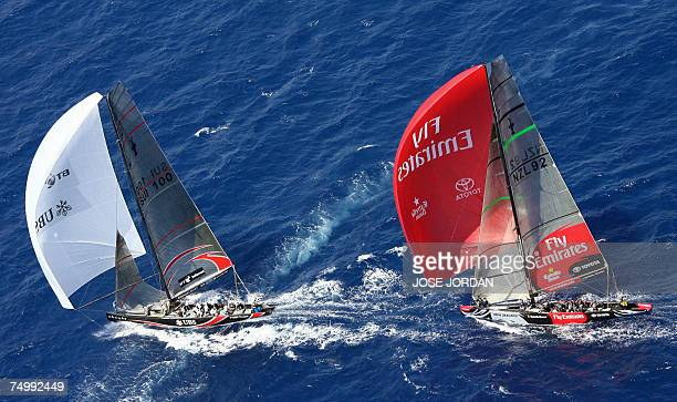 Swiss Alinghi lead Emirates Team New Zealand on the seventh day of racing in the 32nd America's Cup in Valencia 03 July 2007 In a nail biting finish...