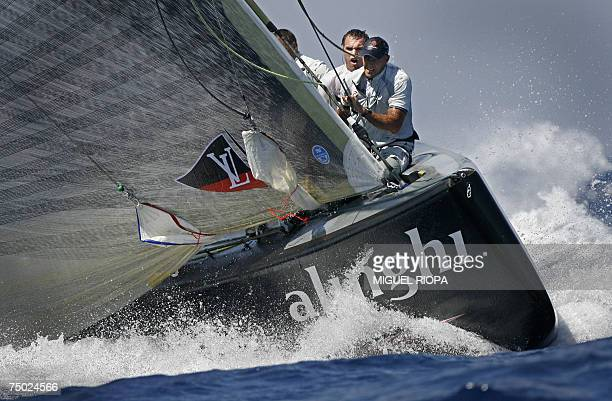 Swiss Alinghi lead Emirates Team New Zealand on the seventh day of racing in the 32nd America's Cup in Valencia, 03 July 2007. In a nail biting...