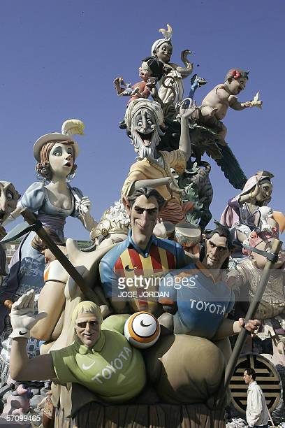 The 'ninot' characatures of players of Valencia club of football Goalkeeper Santiago Canizares Miguela Angel Angulo Argentinian Fabian Ayala are...