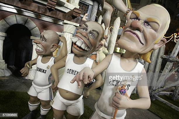 The ninot characatures of players Real Madrid 's players Brittish David Beckam Brazilians Ronaldo and Roberto Carlos are displayed during the...