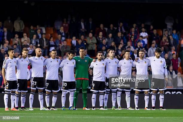 Valencia team during La Liga match between Valencia CF and SD Eibar at Mestalla Stadium where they beat SD Eibar in 40 score