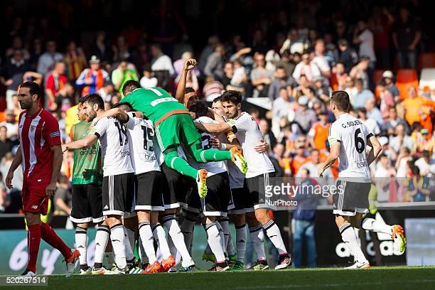 Valencia team during La Liga match between Valencia CF and Sevilla CF at Mestalla Stadium in Valencia on April 10 2016