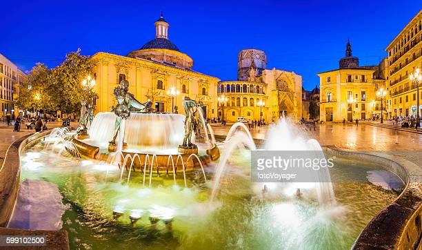 valencia turia fountain plaza de la virgen illuminated night spain - valencia spain stock pictures, royalty-free photos & images