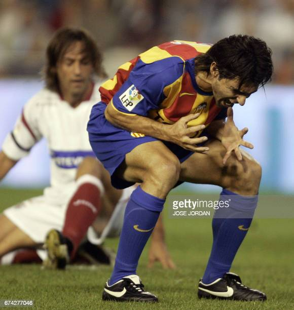 Valencia's Argentinian Fabian Ayala rues a missed opportunity against Sevilla during a Spanish League match at the Mestalla stadium in Valencia 27...