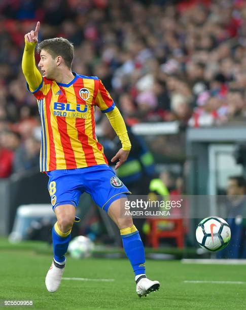 Valencia's Argentinian forward Luciano Vietto gestures during the Spanish league football match Athletic Club Bilbao against Valencia CF at the San...