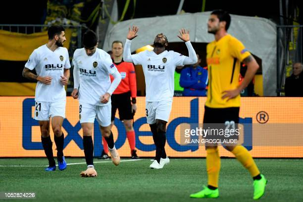 Valencia's Belgian forward Michy Batshuayi celebrates his goal during the UEFA Champions League Group H football match between Young Boys and...