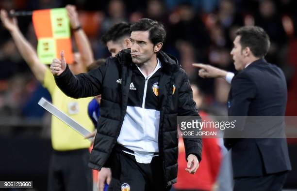 Valencia's coach Marcelino thumbs up during the Spanish 'Copa del Rey' football match between Valencia CF and Deportivo Alaves at the Mestalla...