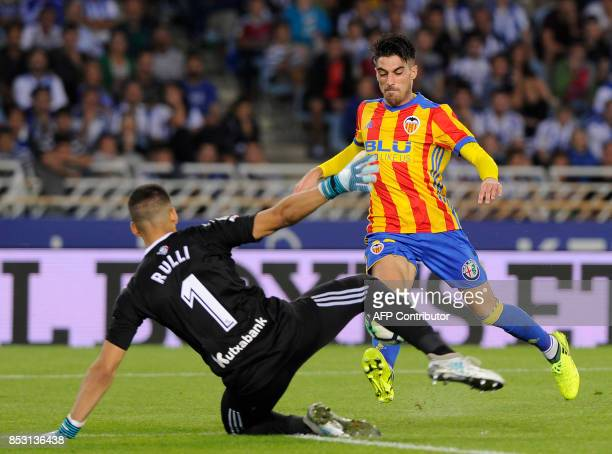 Valencia's defender from Spain Nacho Vidal kicks to score his team's second goal during the Spanish league football match Real Sociedad vs Valencia...