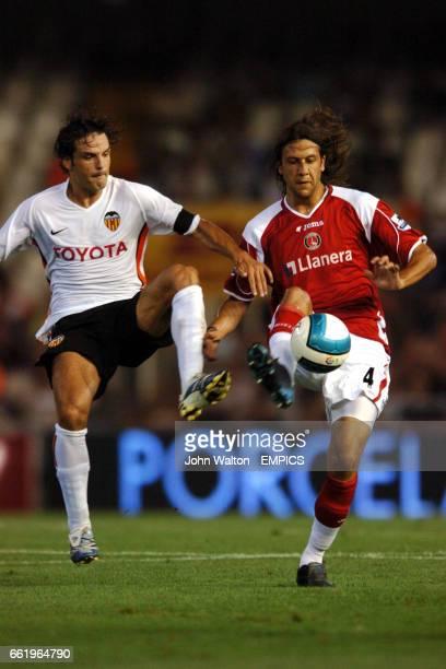 Valencia's Fernando Morientes and Charlton Athletic's Gonzalo Sorondo battle for the ball