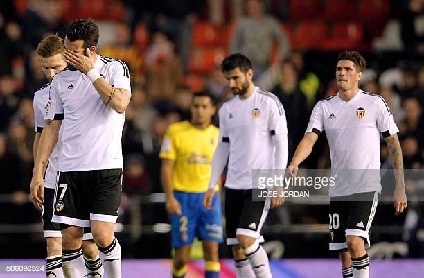 Valencia's forward Alvaro Negredo gestures at the end of the Spanish Copa del Rey football match Valencia CF vs UD Las Palmas at the Mestalla stadium...