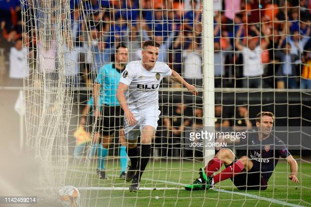 Valencia's French forward Kevin Gameiro celebrates after scoring a goal during the UEFA Europa League semifinal second leg football match between...
