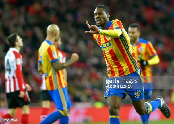 Valencia's French midfielder Geoffrey Kondogbia celebrates a goal during the Spanish league football match Athletic Club Bilbao against Valencia CF...