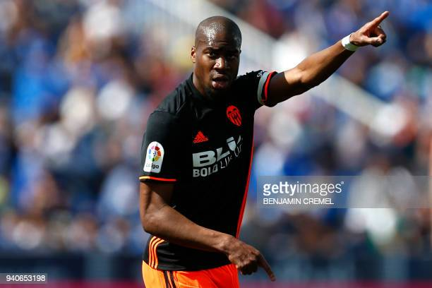 Valencia's French midfielder Geoffrey Kondogbia reacts during the Spanish League football match between Leganes and Valencia at the Butarque stadium...