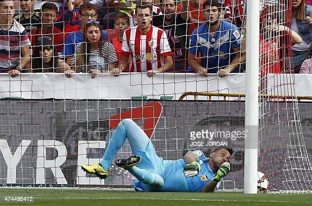 Valencia's goalkeeper Diego Alves fails to stop Alemria's goal during the Spanish league football match UD Almeria vs Valencia CF at the Juegos...