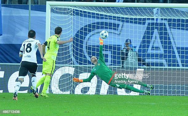 Valencia's goalkeeper Jaume Domenech in action during the UEFA Champions League Group H match between KAA Gent and Valencia at Ghelamco Arena on...