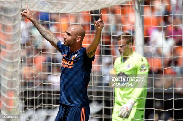 Valencia's Italian forward Simone Zaza celebrates a goal during the Spanish league football match between Valencia CF and RC Deportivo de la Coruna...