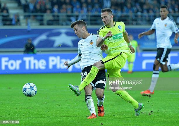 Valencia's Jose Gaya in action during the UEFA Champions League Group H match between KAA Gent and Valencia at Ghelamco Arena on November 4 2015 in...