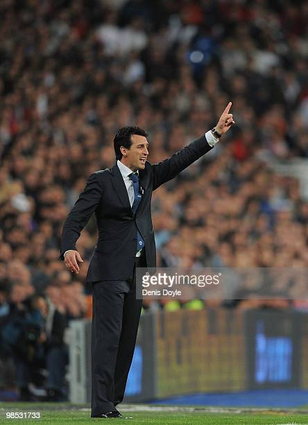 Valencia's manager Unay Emery instructs his team from the sideline during the La Liga match between Real Madrid and Valencia at Estadio Santiago...
