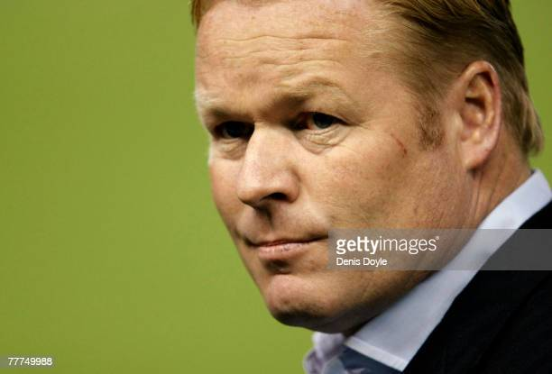 Valencia's new manager Ronald Koeman of The Netherlands watches his team during the UEFA Champions League Group B match between Valencia and...