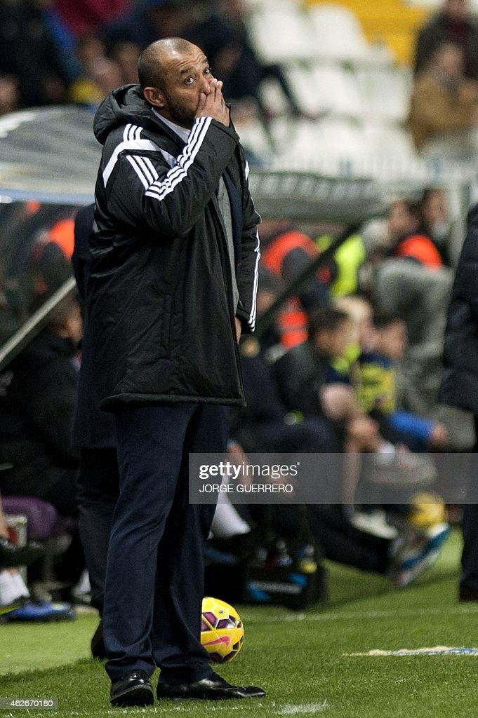 Valencia's Portuguese coach Nuno Espirito Santo reacts during the Spanish league football match Malaga CF vs Valencia CF at La Rosaleda stadium in Malaga on February 2, 2015.