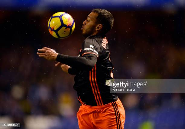 Valencia's Portuguese defender Ruben Vezo controls the ball during the Spanish league football match between RC Deportivo de la Coruna and Valencia...