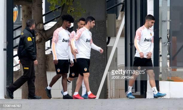 Valencia's Portuguese defender Thierry Correia, Valencia's French midfielder Francis Coquelin, Valencia's Portuguese midfielder Gongalo Guedes and...