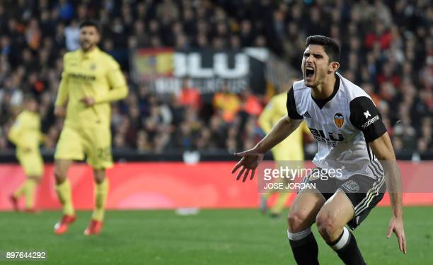 Valencia's Portuguese midfielder Manuel Guedes reacts during the Spanish league football match Valencia CF and Villarreal CF at Mestalla stadium in...