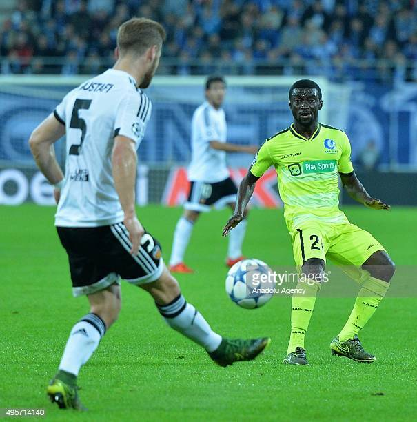 Valencia's Shkodran Mustafi in action during the UEFA Champions League Group H match between KAA Gent and Valencia at Ghelamco Arena on November 4...
