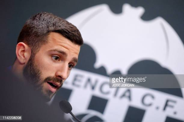 Valencia's Spanish defender Jose Luis Gaya holds a press conference at the Paterna Sports City on May 8 2019 in Paterna on the eve of the UEFA Europa...