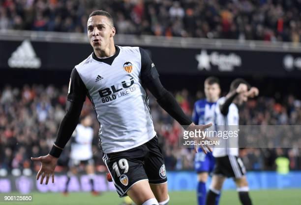 Valencia's Spanish forward Rodrigo Moreno celebrates a goal during the Spanish 'Copa del Rey' football match between Valencia CF and Deportivo Alaves...