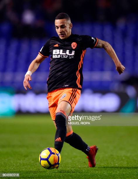 Valencia's Spanish forward Rodrigo Moreno controls the ball during the Spanish league football match between RC Deportivo de la Coruna and Valencia...