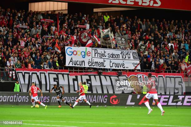 Valenciennes fans protest at their club's perceived lack of ambition for the season during the French Ligue 2 match between Valenciennes and Gazelec...