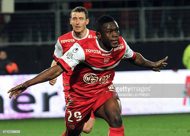 Valenciennes' Ghanaian forward Majeed Waris celebrates after scoring a goal during the French L1 football match between Valenciennes and Sochaux on...