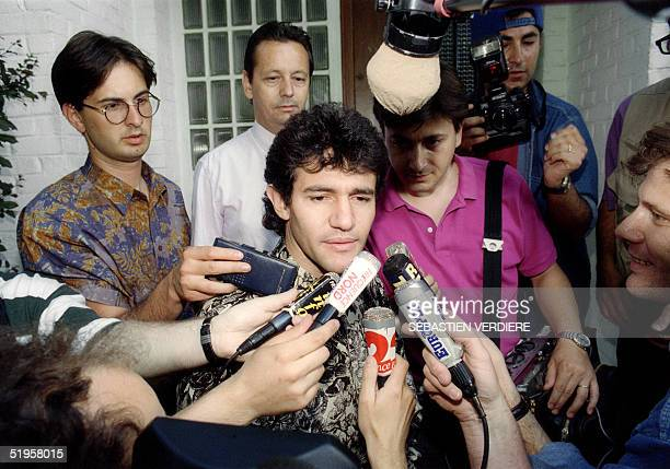 Valenciennes' midfielder Jorge Burruchaga from Argentina gives a press conference at his home 30 June 1993 in Haulchin near Valenciennes following...