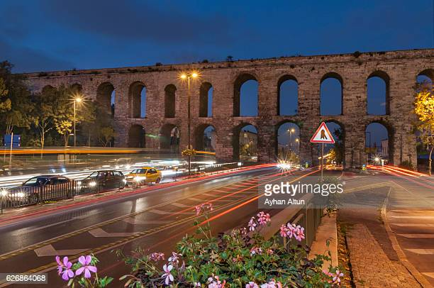 Valens Aqueduct at Ataturk Bulvari  seen from southwest at blue hour,Istanbul,Turkey