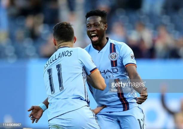 Valentin Castellanos celebrates his goal with teammate Ebenezer Ofori of New York City FC in the first half against the Chicago Fire at Yankee...