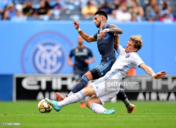 Valentin Castellanos of New York City FC and Florian Jungwirth of San Jose fight for the ball during their game at Yankee Stadium on September 14...