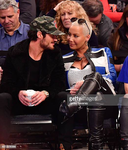 Valentin Chmerkovskiy and Amber Rose attend Atlanta Hawks Vs New York Knicks game at Madison Square Garden on January 16 2017 in New York City