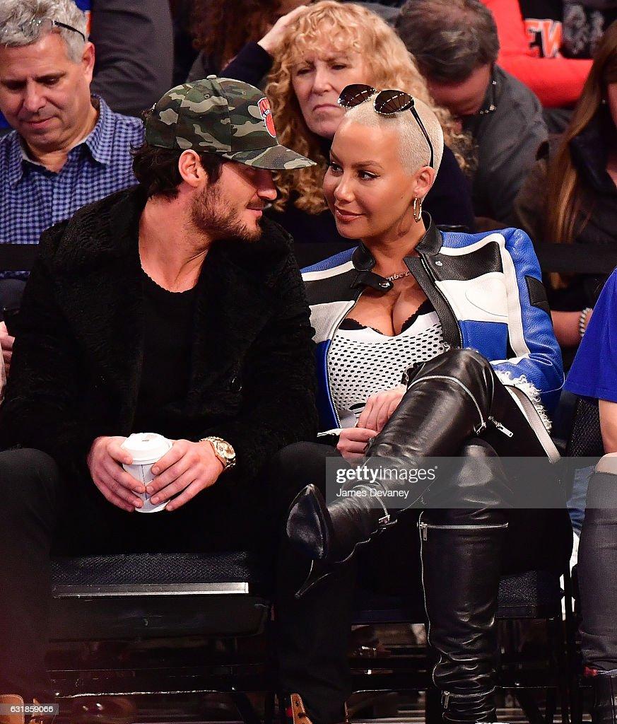 Valentin Chmerkovskiy And Amber Rose Attend Atlanta Hawks Vs New York  Knicks Game At Madison Square